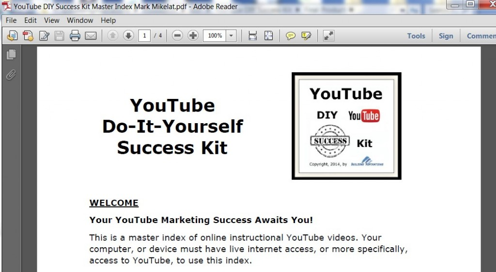 YouTube DIY Succes Kit by Builidng Aspirations Master Index PDF